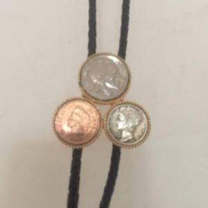 Leather Bolo Tie With Old Coins
